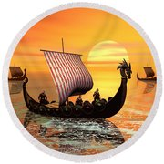 The Vikings Are Coming Round Beach Towel