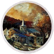A Village In Autumn Round Beach Towel