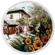 A Village In Summer Round Beach Towel