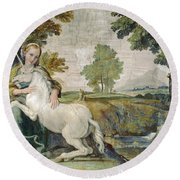 A Virgin With A Unicorn Round Beach Towel