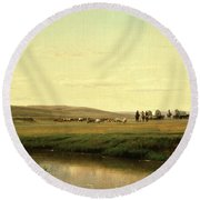 A Wagon Train On The Plains Round Beach Towel