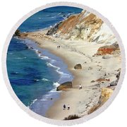 A Walk Along Aquinnah Beach Round Beach Towel