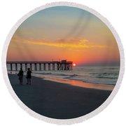 A Walk At Sunrise - Avalon New Jersey Round Beach Towel