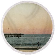 A Walk At Sunset Round Beach Towel