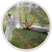 A Walk By The River Round Beach Towel