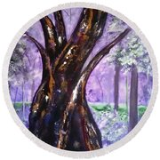 A Walk In The Forest Round Beach Towel