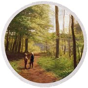 A Walk In The Forest Round Beach Towel by Niels Christian Hansen