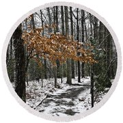 A Walk In The Snow Quantico National Cemetery Round Beach Towel