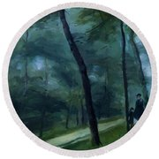 A Walk In The Woods Madame Lecoeur And Her Children 1870 Round Beach Towel