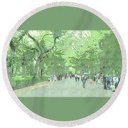 A Walk Through Central Park Round Beach Towel
