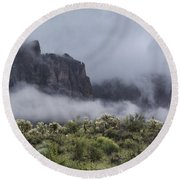 A Wave Of Fog On The Superstitions  Round Beach Towel
