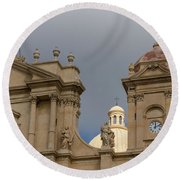 A Well Placed Ray Of Sunshine - Noto Cathedral Saint Nicholas Of Myra Against A Cloudy Sky Round Beach Towel