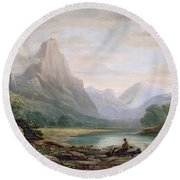A Welsh Valley Round Beach Towel by John Varley