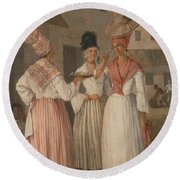 A West Indian Flower Girl And Two Other Free Women Of Color Round Beach Towel