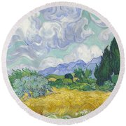 A Wheat Field, With Cypresses Round Beach Towel