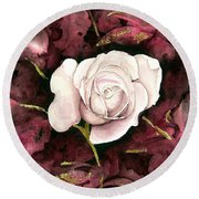 A White Rose Round Beach Towel