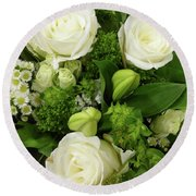 A White Roses Bouquet For You Round Beach Towel