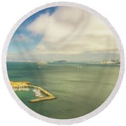 A Wide View Of San Francisco Bay Looking Toward The City And Alc Round Beach Towel