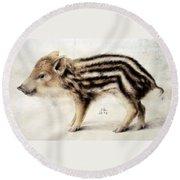 A Wild Boar Piglet Round Beach Towel