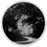 A Winding Road Bw Round Beach Towel
