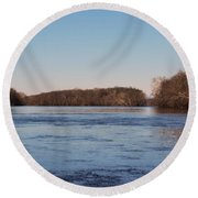 A Windswept River In March Round Beach Towel