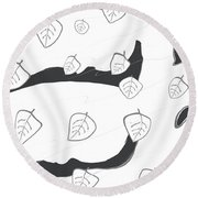 A Windy And Peaceful Night - White Tree Round Beach Towel