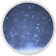 A Snowy Afternoon Round Beach Towel