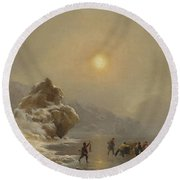 A Winter Landscape With Hunters On The Ice Round Beach Towel