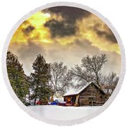 A Winter Sky Round Beach Towel