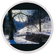 A Winter Walk In The Black Forest Round Beach Towel
