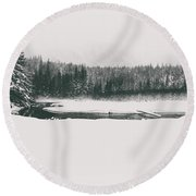 A Winter Whiteout Round Beach Towel
