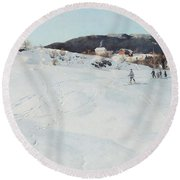 A Winter's Day In Norway Round Beach Towel