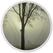 A Winter's Day In The Fog Round Beach Towel