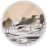 A Winter's Day Passing Bye Round Beach Towel