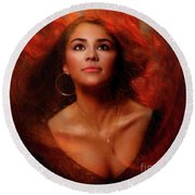 A Wistful Look Up Warded  Round Beach Towel