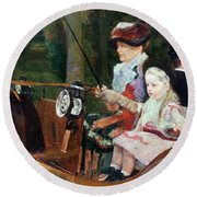 A Woman And Child In The Driving Seat Round Beach Towel