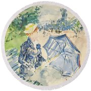 A Woman Seated At A Bench On The Avenue Du Bois Round Beach Towel