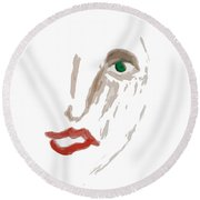 A Woman's Face Round Beach Towel