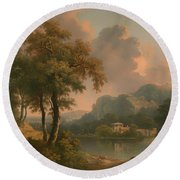 A Wooded Hilly Landscape Round Beach Towel