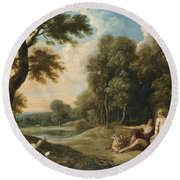 A Wooded Landscape With Venus Adonis And Cupid Round Beach Towel