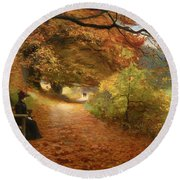 A Wooded Path In Autumn Round Beach Towel