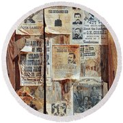 A Wooden Frame Full Of Wanted Posters Round Beach Towel