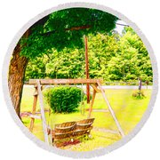 A Wooden Swing Under The Tree Round Beach Towel
