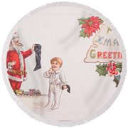 A Xmas Greetings With Santa And Child Vintage Card Round Beach Towel