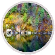 A Yellow Lake Calm Round Beach Towel