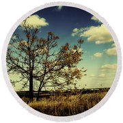 A Yellow Tree In A Middle Of A Dry Field - Wide Angle Round Beach Towel