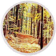 A Yellow Wood Round Beach Towel