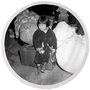 A Young Evacuee Of Japanese Ancestry Round Beach Towel by Stocktrek Images