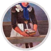 A Young Girl Round Beach Towel