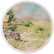 A Young Girl In Summer Landscape Round Beach Towel